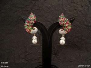 Ad Jewellery , Peacock Moti Drop Ad Jewellery Earring | Manek Ratna