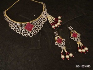 Ad Jewellery , Rhombus Leaf Curve Bridal Ad Necklace Set | Manek Ratna