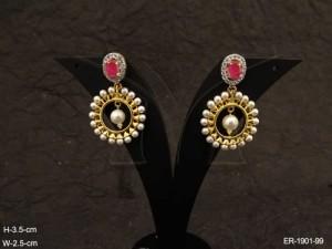 Ad Jewellery , Round Polo Moti Bordered Ad Earrings | Manek Ratna