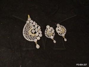 Ad Jewellery , Side Designed Leaf Ad Pendant Set | Manek Ratna