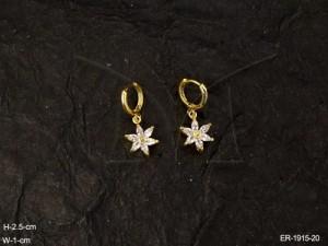 Ad Jewellery , Small Bali Flower Drop Ad Earrings | Manek Ratna