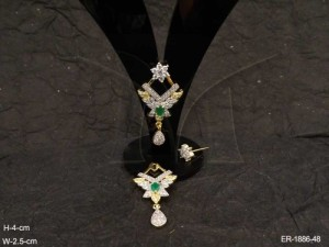 Ad Jewellery , Triangular Kairi Leafs Fall Ad Earrings | Manek Ratna