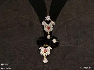 Ad Jewellery , Triangular Oval Flower Fall Ad Earrings | Manek Ratna