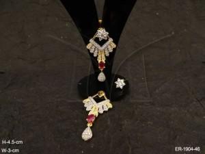 Ad Jewellery , Triangular Pendulam Designed Ad Earrings | Manek Ratna