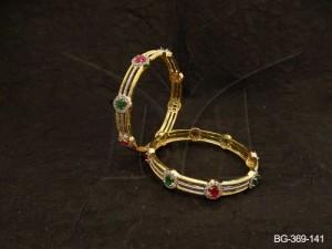 Ad Jewellery , Triple Layer Round Segmented Ad Bangles | Manek Ratna