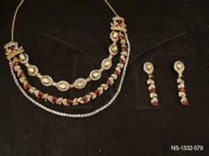 Ad Jewellery , Triple Layered Oval Beaded Ad Necklace Set | Manek Ratna