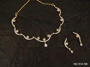 Ad Jewellery , Wavy Style Flower Stuck Ad Necklace Set | Manek Ratna