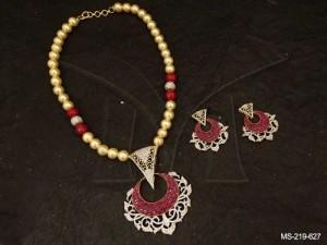 Ad Jewellery , Chand Triangular In Designed Ad Mala | Manek Ratna