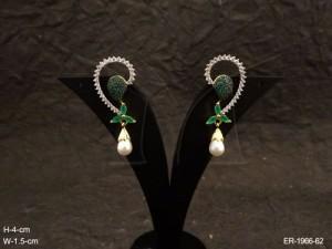 Ad Jewellery , Curved Cuff Moti Drop Earrings | Manek Ratna