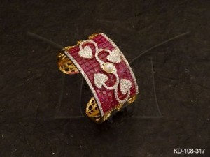 Ad Jewellery , Curved Leaf Style Center Broad Ad Kada | Manek Ratna