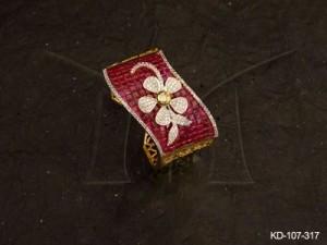 Ad Jewellery , Decorative Flower Style Curved Style Ad Kada | Manek Ratna