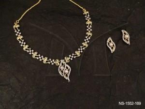 Ad Jewellery , Double Layyered Similar Style Ad Necklace Set | Manek Ratna