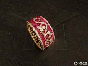 Ad Jewellery , Garden Flower Style Broad Ad Kada | Manek Ratna
