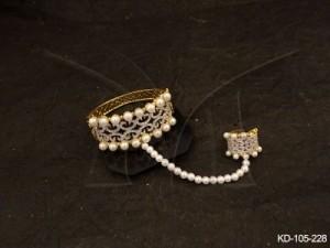 Ad Jewellery , Haath Paan Style Moti Bordered Ad Kada | Manek Ratna
