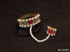 Ad Jewellery , Haath Paan Style Rhombus Shape Ad Kada | Manek Ratna