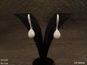 Ad Jewellery , Hook Style Paan Drop Ad Earrings | Manek Ratna