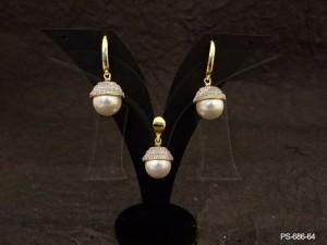 Ad Jewellery , Moti Drop Bell Attached Ad Pendant Set | Manek Ratna