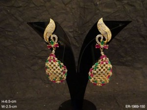 Ad Jewellery , Paan Style Curved Hold Ad Earrings | Manek Ratna