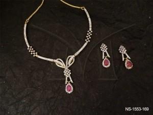 Ad Jewellery , Ribbon Bow Style Ad Necklace Set | Manek Ratna