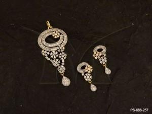 Ad Jewellery , Round Chakri Trikon Flowery Ad Pendant Set | Manek Ratna