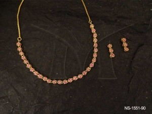 Ad Jewellery , Tiny Flower Layered Ad Necklace Set | Manek Ratna