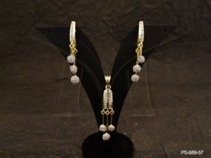 Ad Jewellery , Tri Drop Long Hold Ad Pendant Set | Manek Ratna