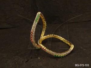 Ad Jewellery , Wavy Style Beaded Designed Ad Bangles | Manek Ratna