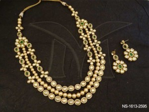 Ad Kunda n Jewellery necklace with Triple Layer Oval Beaded Set found in Manek Ratna