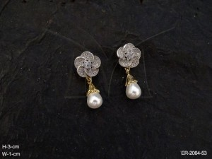 Ad Jewellery with Basundi Flowerr Hold Moti Drop Ad Earrings by Manek Ratna