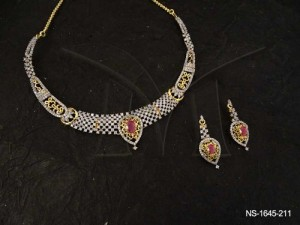 Ad Necklace Set Jewellery with Bridal Checkes Centered Reverse Paan designed by Manek Ratna