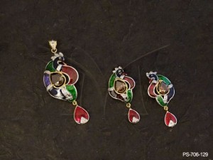 Ad Jewellery with Curved Peacock Paan Drop Ad Pendant Set by Manek Ratna