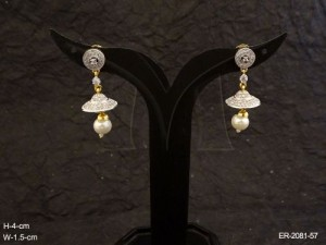 Ad Jewellery , Delicate Jhumki Round Hold Ad Earrings | Manek Ratna