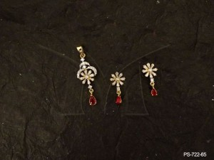 Ad Jewellery , Delicate Party Wear Chand Flower Ad Pendant Set | Manek Ratna