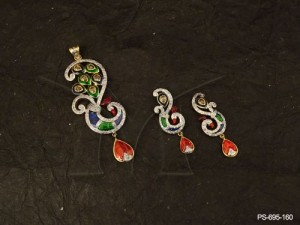 Ad Jewellery with Emerald Peacock Design Fancy Jewellery Gold Finish Ad Pendant Set | Manek Ratna