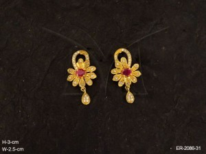 Ad Earrings Jewellery with Flower Shape and Stem Style byManek Ratna