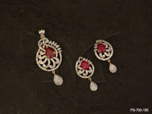 Ad Jewellery with Indian Diamond Necklaces Women Diamond Jewellery  Ad Pendant Sets by Manek Ratna
