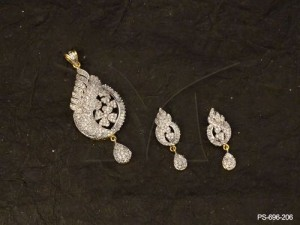 Ad Jewellery , Latest Indian Designer Daily Wear  Ad Pendant  Set | Manek Ratna