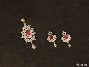 Ad Jewellery with Paan Centered Side Leaves Ad Pendant Set by Manek Ratna