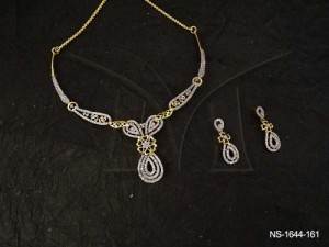Ad Neckalce Set Jewellery with Paan Twisted Designed by Manek Ratna