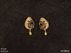 Ad Earrings Jewellery with  Peacock Winged Sides  designed by Manek Ratna