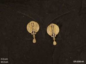 Ad Jewellery , Round Shell Center Style Party Wear Ad Earrings | Manek Ratna