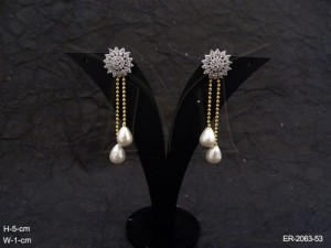 Ad Jewellery with Sunflower Hold Moti Drop Ad Earrings by Manek Ratna