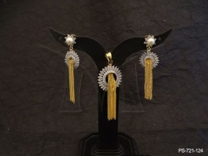 Ad Jewellery , Sunflower Style Center Chain Fall Ad Pendant Set | Manek Ratna