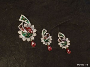 Ad Jewellery designed with Traditional Diamond Combo With Red And Green Ad Pendent Set by Manek  ...