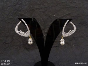 Ad Earrings Jewellery with Triangle Polo Style Moti Drop  by Manek Ratna
