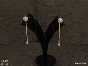 Ad Jewellery , Round Delicate Chain Drop Ad Earrings | Manek Ratna