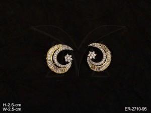 Ad Jewellery , Chand Shape Ad Earrings | Manek Ratna