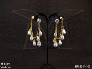 Ad Jewellery , Moti Drop Chain Fall Gold Cap Base Ad Earrings | Manek Ratna