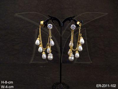 ad-jewellery-moti-drop-chain-fall-gold-cap-base-ad-earrings-manek-ratna-146176050984kgn