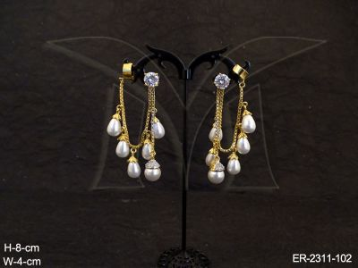 ad-jewellery-moti-drop-chain-fall-gold-cap-base-ad-earrings-manek-ratna-146193484584ngk